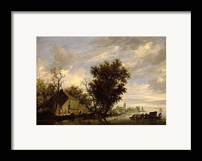 Seascape With A Sail-boat Framed Prints
