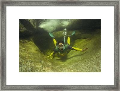 River Snorkelling Framed Print