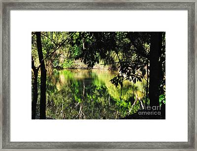 River Through The Trees Framed Print by Kaye Menner