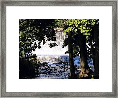 River Walk Dam Framed Print by Joyce Kimble Smith
