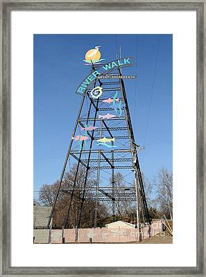 River Walk Tower Sign In West Sacramento California . 7d11400 Framed Print by Wingsdomain Art and Photography