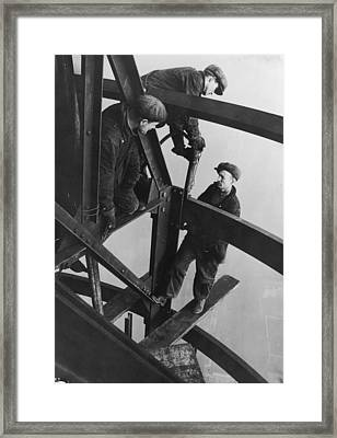 Riveting Trio Framed Print by Lewis W Hine