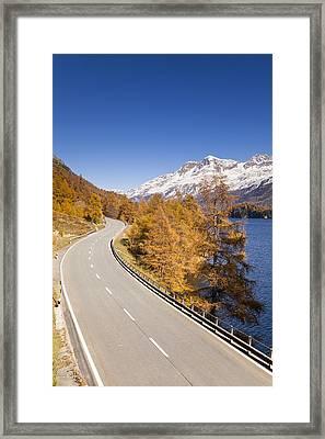 Road Along Lake Sils With Piz Corvatsch, Engadin, Switzerland Framed Print by F. Lukasseck
