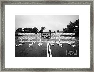 Road Closed And Highway Barrier Due To Flooding Iowa Usa United States Of America Framed Print