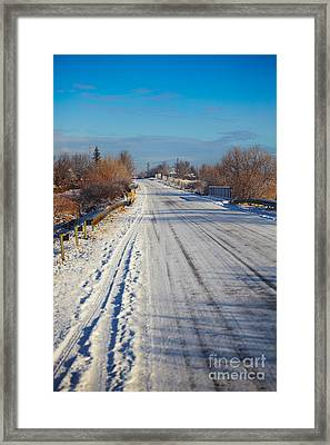Road In Winter Framed Print by Gabriela Insuratelu