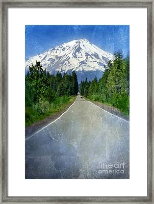 Road Leading To Snow Covered Mount Shasta Framed Print by Jill Battaglia