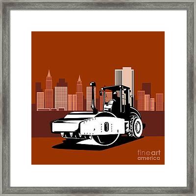 Road Roller  Retro  Framed Print by Aloysius Patrimonio