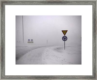 Road Signs In Snowy Landscape Framed Print by K.Magnusson