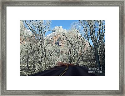 Road Through Zion Canyon Framed Print by Bob and Nancy Kendrick