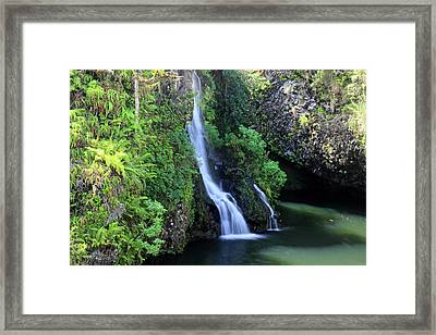Road To Hana Waterfall Framed Print by Pierre Leclerc Photography