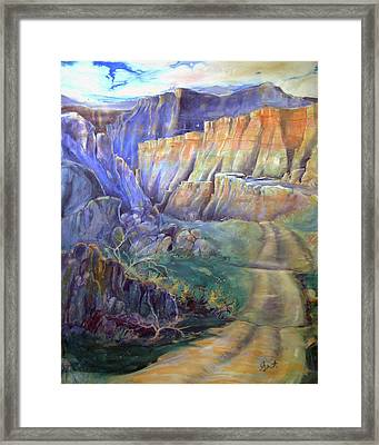 Framed Print featuring the painting Road To Rainbow Gulch by Gertrude Palmer
