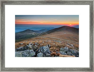 Road To Sunrise Framed Print by Evgeni Dinev