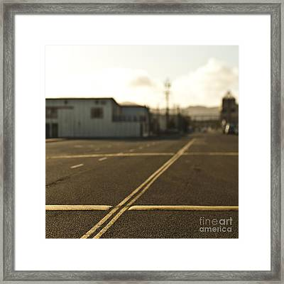 Road With Double Yellow Lines And Speed Bumps Framed Print by Eddy Joaquim