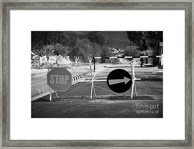 roadblock at greek cypriot border post at famagusta at the UN buffer zone in the green line Framed Print by Joe Fox
