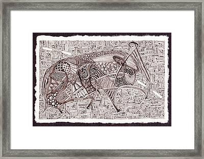 Roadkill Petroglyph Framed Print by Buck Buchheister