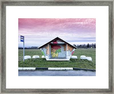 Roadside Bus Stop In Estonia. Hay Baled Framed Print by Jaak Nilson