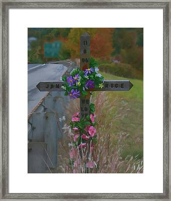 Framed Print featuring the photograph Roadside Memorial by Gregory Scott