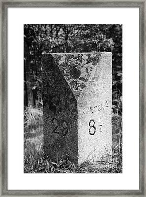 roadside milestone for kinloch and tyndrum in Scotland uk Framed Print