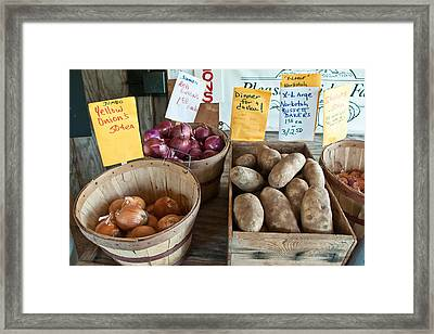 Roadside Produce Stand Onions Potatoes Shallots Framed Print by Denise Lett
