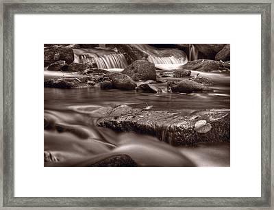 Roaring Fork Great Smokey Mountains Bw Framed Print by Steve Gadomski