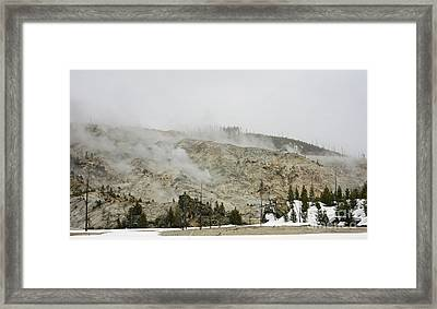 Roaring Mountain In Yellowstone Framed Print by Charline Xia