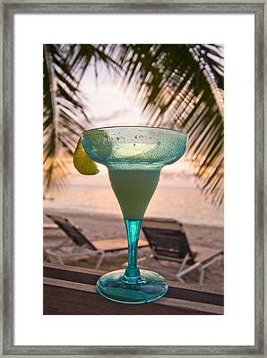 Roatans West Bay, Tropical Drink Framed Print by Richard Nowitz