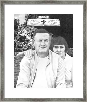 Framed Print featuring the drawing Robert And Theresa Lewis by Ana Tirolese