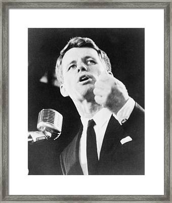 Robert F. Kennedy Making His Acceptance Framed Print by Everett