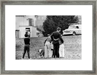 Robert Kennedy Is Comforted By Two Framed Print by Everett