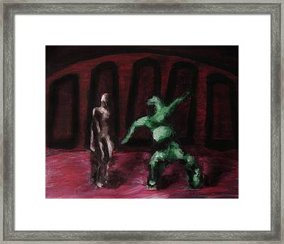 Framed Print featuring the painting Robot Chewbacca Fight Colosseum In Red Green And Pink by M Zimmerman