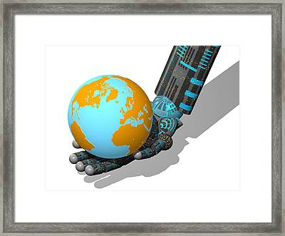 Robotic Hand And Earth Framed Print by Laguna Design