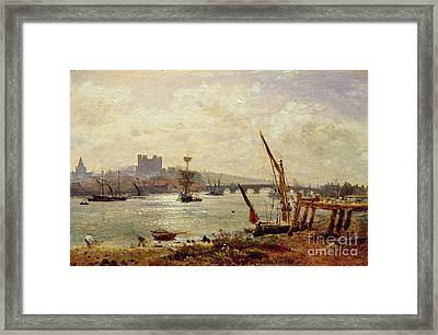 Rochester Cathedral And Castle Framed Print by Frederick Nash