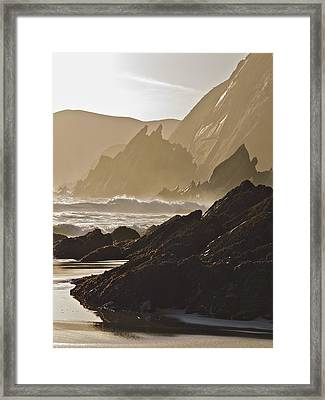 Rock And Waves Dingle Peninsular Framed Print by Julian Easten
