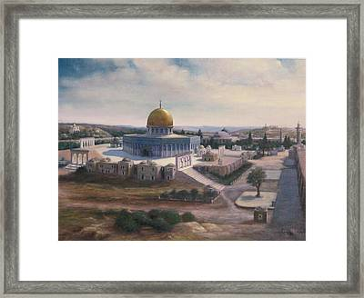 Framed Print featuring the painting Rock Dome - Jerusalem by Laila Awad Jamaleldin