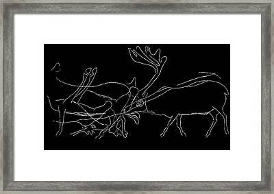 Rock Engraving Of Reindeer, Artwork Framed Print by Sheila Terry