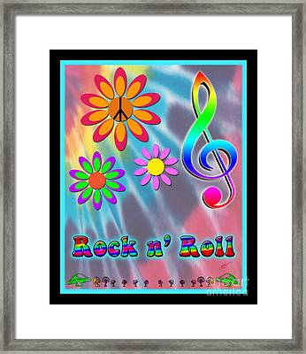 Rock Music Poster Framed Print by Linda Seacord