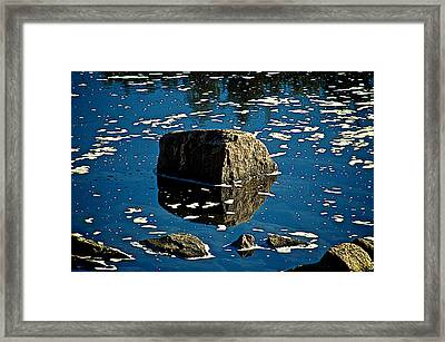 Rock Reflection In Blue Water Framed Print by Andre Faubert