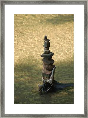 Rock Tower Lake Superior Framed Print by Peg Toliver