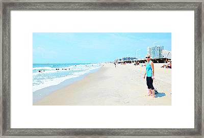 Framed Print featuring the photograph Rockaway Beach Sparkle by Maureen E Ritter