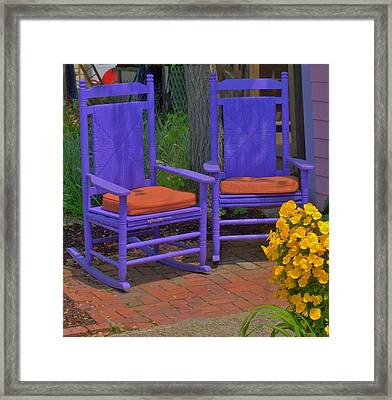 Framed Print featuring the photograph Rocking Chairs Of Gloucester by Caroline Stella