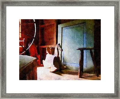 Rocking Horse In Attic Framed Print by Susan Savad