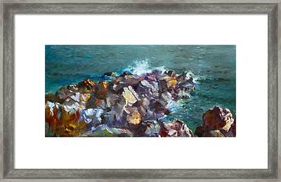 Rocks Against The Ocean  Framed Print
