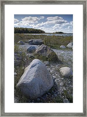 Rocks Along The Shore At North Point Framed Print