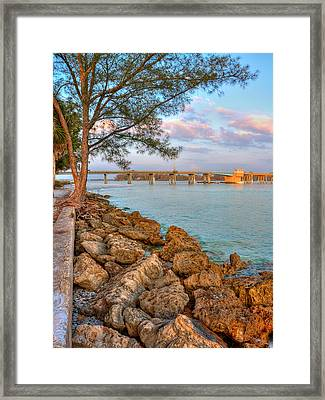 Rocks And Water Longboat Pass Bridge Framed Print by Jenny Ellen Photography