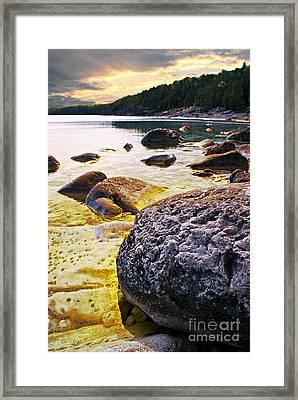 Rocks At Georgian Bay Shore Framed Print by Elena Elisseeva