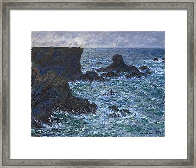Rocks At Port Coton The Lion Rock Framed Print by Claude Monet