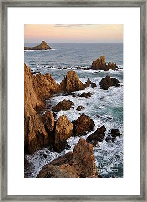 Rocks At Sea In Cabo De Gato  Almeria Spain Framed Print by Perry Van Munster