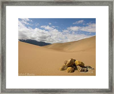 Framed Print featuring the photograph Rocks In The Mountains by John Burns