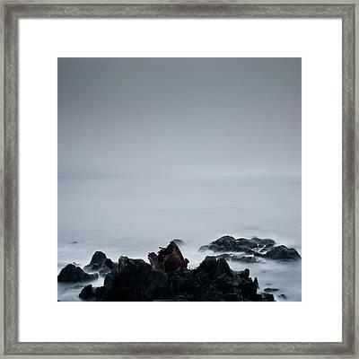 Rocks In Water At Sea Framed Print by Ahfox21