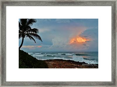 Rocks Sunset Glow Framed Print